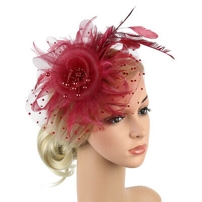 Women Feather Flower Mesh Hat Fascinator Headdress Net Veil Headband Headwear