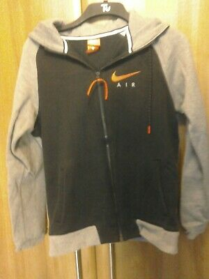 """A Hoodie by Nike.Size Small pit to pit 20"""".Black/Grey with red Decal."""