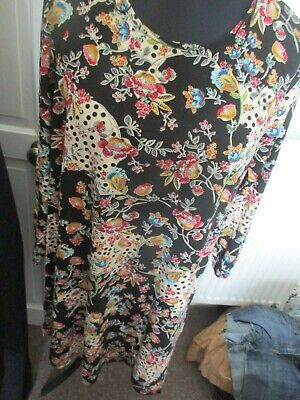 Ladies Black Mix Floral Print Long Top, Tu, Size 22, Exc-Con