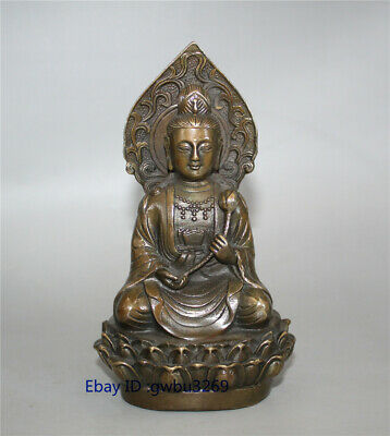 Collection old China Brass Hand carved Guanyin Statues Bodhisattva w Xuande Mark