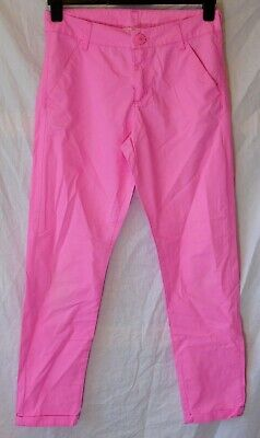 Girls H&M Neon Pink Summer Cotton Smart Casual Trousers Age 13-14 Years