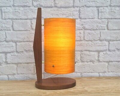 Retro Mid Century Vintage Single Leg Orange Fibreglass & Teak Rocket Table Lamp