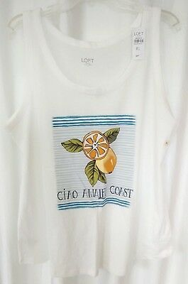 Ann Taylor LOFT White Ciao Amalfi Coast Orange Front Shirttail Hem Shirt XL NWT