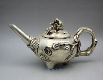 collection old Chinese Tibetan silver handwork carved Stump animal cover  Teapot