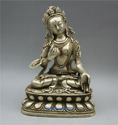 Chinese collectionhand-carved Tibet silver Guanyin Bodhisattva statues