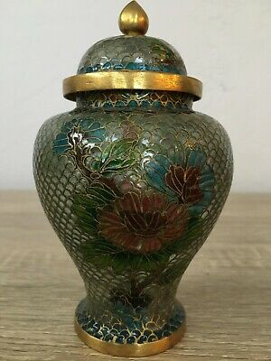 "Beautiful Antique Chinese Plique A Jour Cloisonne Enamel 5.5"" Lidded Jar"