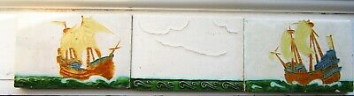 arts & crafts c1900 hand made tiles  triptyc panel galleons at sea tube lined