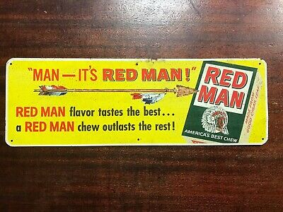 """Vintage 1950's RED MAN Indian Chewing Tobacco Metal Store 15"""" Sign"""