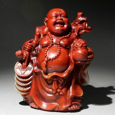 Collectable China Shoushan Stone Hand-Carved Buddha Bring Wealth Delicate Statue