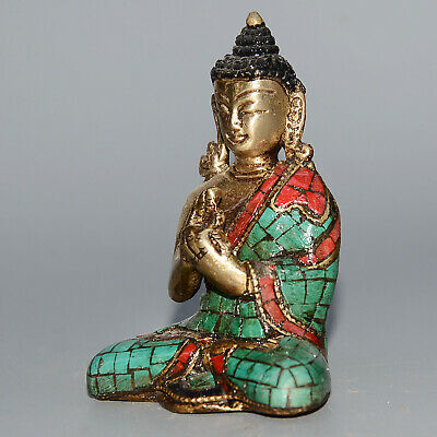 Collectable China Old Copper Inlay Cloisonne Hand-Carved Sit Buddha Lucky Statue