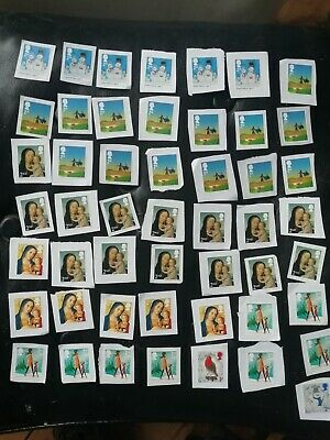 50 second 2nd class Unfranked Xmas non security Stamps On white Paper