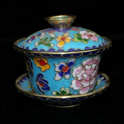 Collectable China Old Cloisonne Hand-Carved Blooming Flowers Noble Royal Tea Cup
