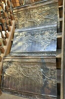 3 Ceiling Tin Panels, Vintage Reclaimed Molding Pieces, Architectural Salvage a