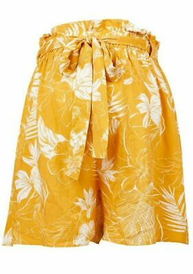 Dp's Maternity Yellow & White Print Over Bump Shorts Size 8 & 10 Bnwt