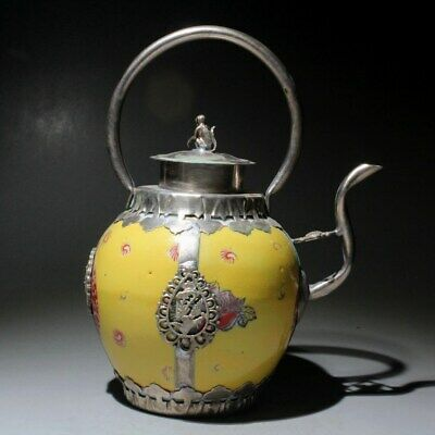 China Collectable Miao Silver Enamel Porcelain Hand-Carved Phoenix Monkey Teapot