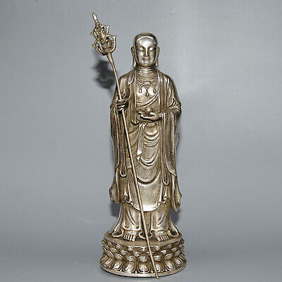Collectable China Old Miao Silver Hand-Carve Buddha Bring Auspicious Rare Statue