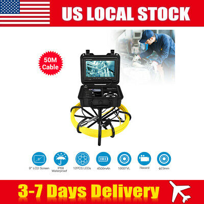 9Inch 50M Pipe Drain Pipeline Endoscope Cleaner Industrial Sewer HD Cam DVR 8GB