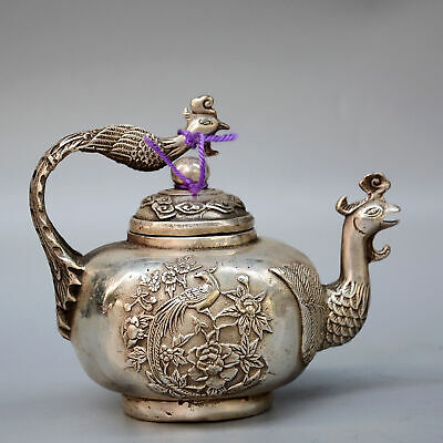 AAA Daming Years Collectable China Handwork Old Miao Silver Carve Phoenix Teapot