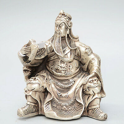 Chinese Collectable Miao Silver Hand-Carved Guanyu Reading Book Delicate Statue
