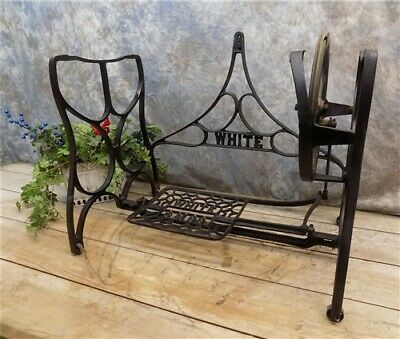 Treadle Sewing Machine Cast Iron Base Industrial Age Table White Steampunk NR