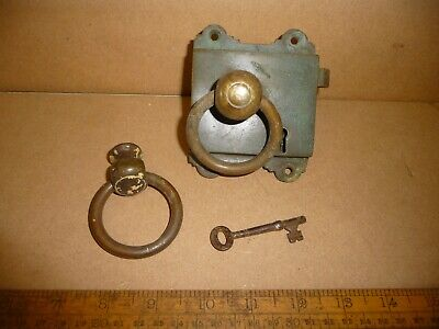 Antique Brass Door Lock / Brass rimlock with Knobs / Ring Handles and key -works