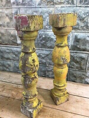 Yellow Antique Chunky Balusters, Vintage Wood Spindles Architectural Salvage a,