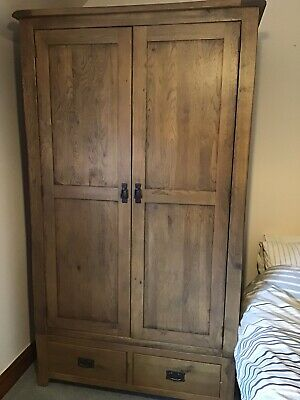 Rustic Solid Oak 2 Door Double Wardrobe with 2 Drawer's