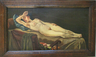 Vintage Retro Nude lady reclining painting oil on board  54cm x 28cm