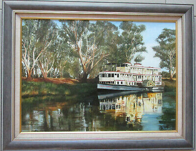 R Purcell Oil on board Painting paddle boat Coonawarra on the Murray 60cm x 43cm