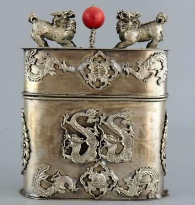 Old Miao Silver Hand-Caved Dragon & Phenix & Kylin Moral Bring Luck Box /Tb01