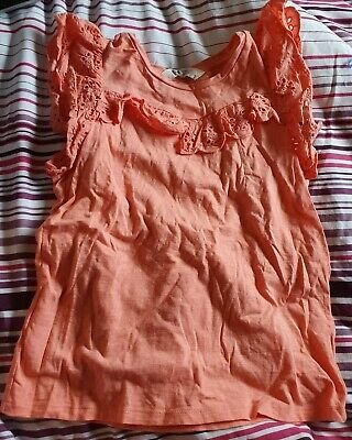BNWOT Girls H&M Coral Frill Top 8-10 Years
