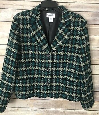 Pendleton Sz 16 Wool Houndstooth Plaid Green Blazer Jacket