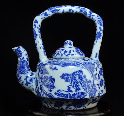 china old hand-made blue and white porcelain landscape painting teapot Bb02C