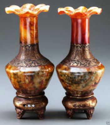 A031 pair antique estate Chinese carved red agate vases with gilt metal mounts