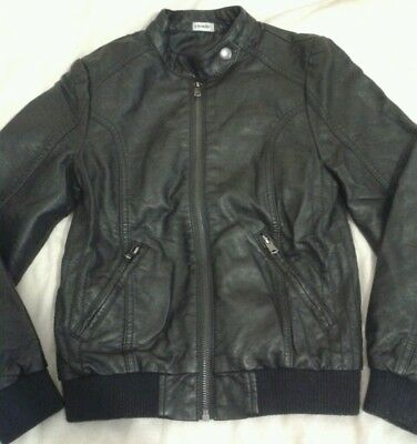 Girls Black Leather look Coat Jacket Age 7-8