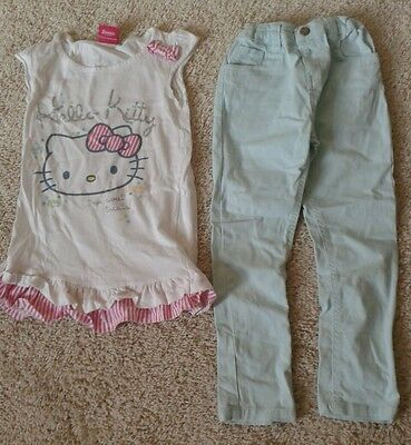 Girls Hello Kitty Top and Mint Skinny Jeans Age 5 to 6