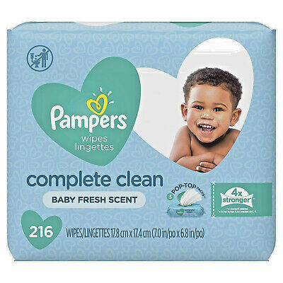 Pampers Complete Clean Wipes 3 Pop Top Packs, 216-Total Baby Fresh Scent