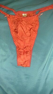 VTG 80s high cut red silk thong, size 6.