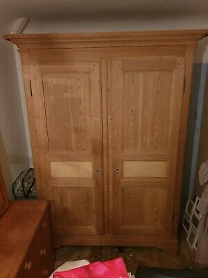 Beautiful French Antique Pine Grand Double Wardrobe