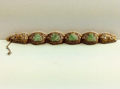 Vintage CHINESE Filigree Vermeil (GOLD WASH OVER SILVER) Carved Jade Bracelet