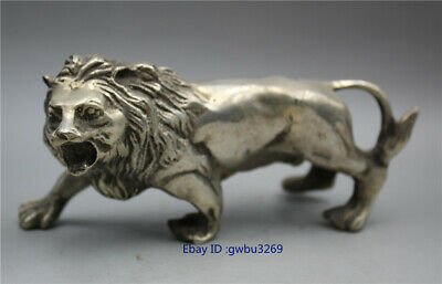 Collection chinese Tibet silver handwork carved lion Statue