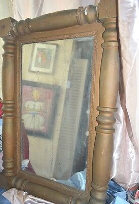 "ANTIQUE Mirror in Frame  PRIMITIVE STYLE WOOD   29"" TALL X 20"" WIDE"