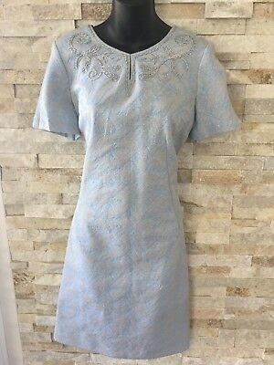 Beautiful Vintage Blue & Silver Embroidered Dress - Size 12-14