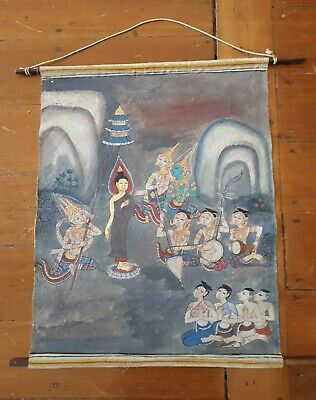 Thai Temple Painting- Paint and Gold Leaf on Fabric- Early 1900's