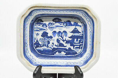 Antique Chinese Canton Blue and White Bottom Dish , 7.5 x 6.25 - 🐘