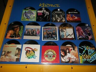 80's Records 45 RPM Lot of 14 Hard Rock Various Artists / All PS /Guns N Roses