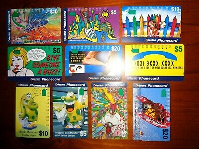 PHONE CARDS ~ 10 Telecom / Telstra Collectable used Phonecards