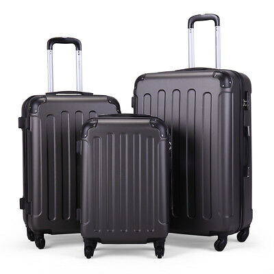 3Pcs Suitcase Luggage Travel Bag Tags Spinner Coded Lock Set Wheels Gray BHC