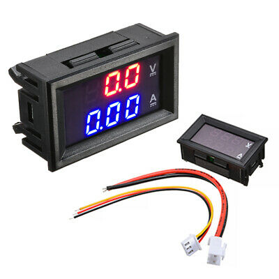 DC 10A 100V Voltmeter Ammeter Blue+Red LED Dual Digital Volt Amp Meter Gauge