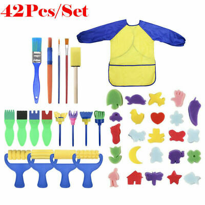 42Pcs Kids Paint Brushes Sponge Painting Brush Tool Set for Children Toddler Toy